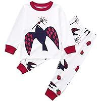 Ropa Bebe niña niño,(18M-5T) Top Estampado de pájaro de Manga Larga para niños + Pantalones Conjunto