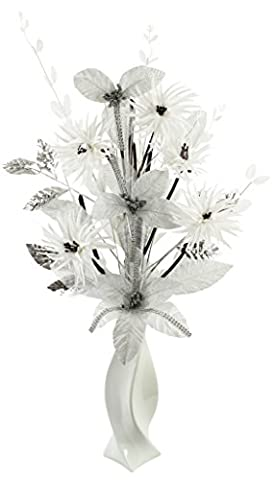 Silver Diamante Glitter Artificial Flower in White Vase, Table Decorations, Home Accessories, Window Ornament, Living Room Flowers, Height