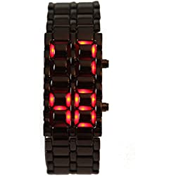 HDE Iron Samurai Style Stainless Steel Digital Volcanic Lava Watch With LED Display (Gunmetal and Red)