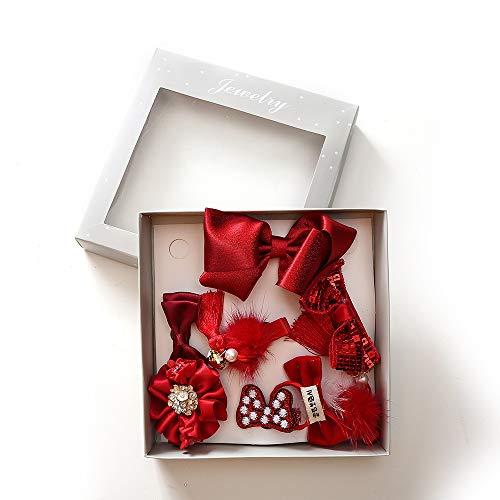 (Ju-sheng Krawatte 9 Stücke Set Haar Krone Bogen Pompon Headwear Haarschmuck Geschenkset (Farbe : C1))