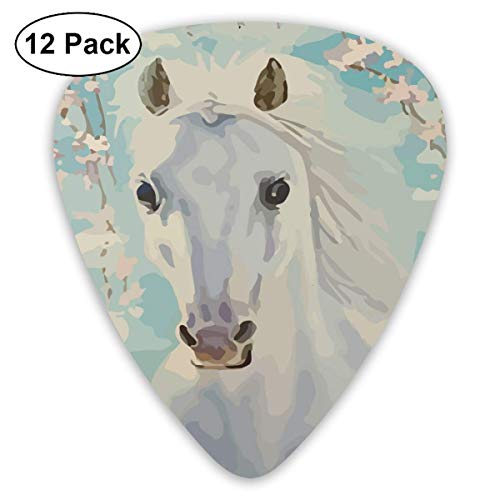 Cherry Blossoms White Horse 351 Shape Classic Celluloid Guitar Pick For Electric Acoustic Mandolin Bass (12 Count) Basso Blossom