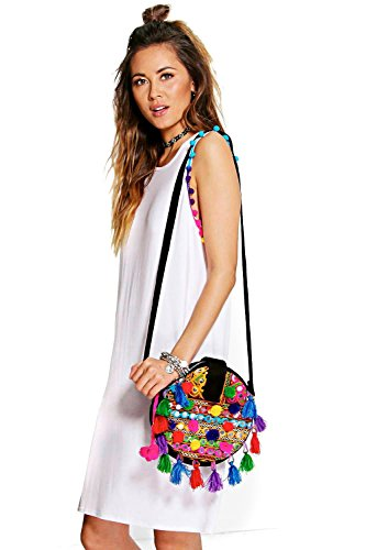 blanc Femme Karie Robe T-shirt Multicolore À Pompons Blanc
