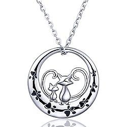 "Plata collar de las mujeres, 925Plata de Ley mascota cachorro doble gatos collar con colgante ""siempre Be con You,"" aeonslove joyas con paquete de regalo mejor para mujer/mujer/niñas"