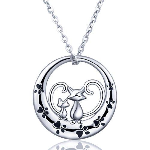 Collar de plata para mujer, plata de ley 925, colgante doble para cachorro de gato 'Always be with you', joyas AEONSLOVE con paquete de regalo para mujeres/esposas/niñas