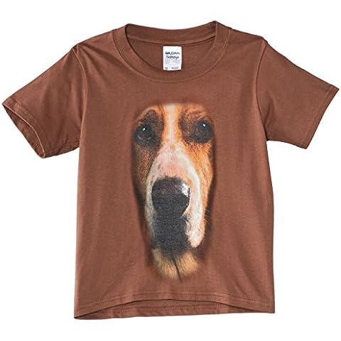 Printed Wardrobe - Big Face Animal Basset Hound, T-Shirt bambini e ragazzi, Braun, 110