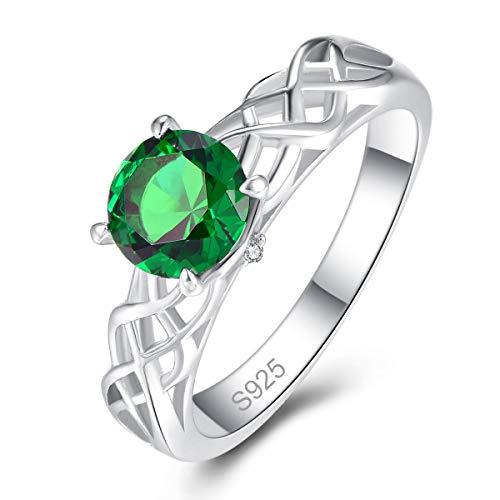 Bonlavie Damen-Ring Silber 925 Rundschnitt Erstellt Smaragd und Weiß Zirkonia Verlobungsring für Frauen Mädchen