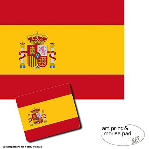 Geschenkset: 1 Poster Kunstdruck (50x40 cm) + 1 Mauspad (23x19 cm) - Spanien, Flaggen Der Welt -