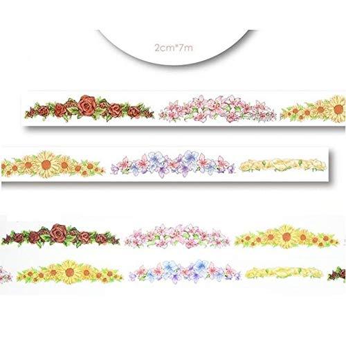nd 1 Rolle = 20mm x 7 mt Hohe Qualität Blumenmuster Japanischen Washi Dekorative Klebeband DIY Masking Paper Tape Label Aufkleber großhandel ()