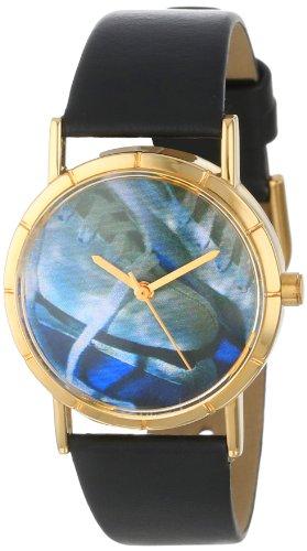 Drollige Uhren Ice Skating Lover Schwarz und goldfarben, Unisex Armbanduhr Analog Leder P-0840026