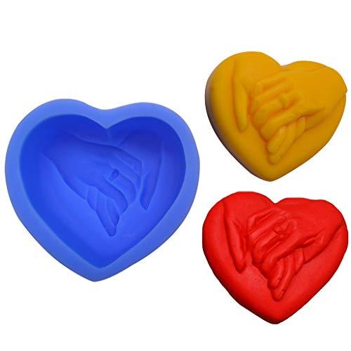 Silikonform Fondant, CHshe Herzförmige Silikonform Ungiftig Seife Handgemachte Seifenform Duftkerzenform Schoko Süßigkeiten Gummibärchen Tablett Tortendekoration Selbst Gemacht