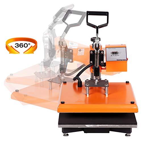RICOO Transferpresse T538B-GS [38x38cm] T-Shirtpresse Heat Press Thermopresse Textilpresse für Transfer-Folie Transfer-Papier || Gelb/Orange || - 3