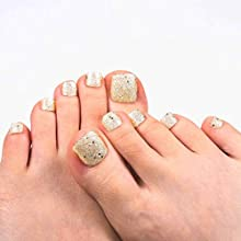 Brinote Glossy Press on Fake Toenails Square Toes Nails Gold Glitter Full Cover Artificial False Toenails for Women and Girls (Gold)