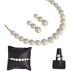 Zeneme American Diamond Traditional Fashion Jewellerry Combo of Necklace Pendant Set/Ring/Bracelet with Earring for Women/Girls