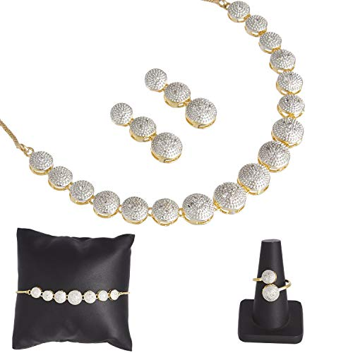 Zeneme American Diamond Traditional Fashion Jewellerry Combo of Necklace Pendant Set/Ring/Bracelet with Earring for Women/Girls (White)