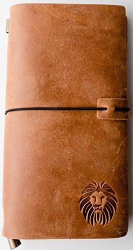 Tagebuch nachfüllbar Traveler Notebook mit Karte Vintage Stil Handgefertigt Geschenk für Herren Frauen Schreiben Professional Tagebuch 180Seiten Standard groß hellgrau braun ()