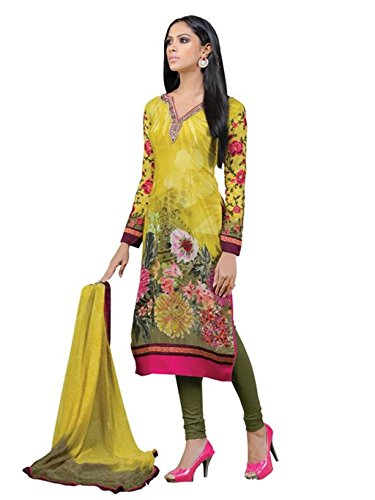crazy bachat Indian Designer Salwar Suits Frech Crape Mustard Color Semi Stitched Dress