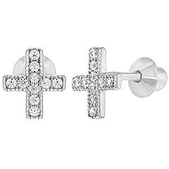 Idea Regalo - 925sterling Silver piccolo CZ vite della croce orecchini neonati bambini