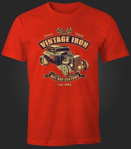 Herren T-Shirt Hot Rod Vintage Iron USA Retro Rot