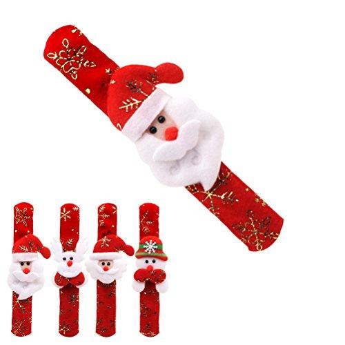 Toyvian Slap Armbänder mit Santa Schneemann Rentiere Dekorationen Weihnachtsfeierbevorzugungen Weihnachten Armband Für Kinder Jungen Mädchen (Zufälliger Stil)