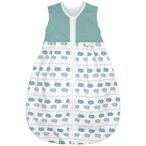 Premium Baby Schlafsack, Flauschig Weich, Bequem & Atmungsaktiv, 100% natürliche Baumwolle, Großzügige Bewegungsfreiheit, Größe: 70 cm, Alter: 0-6 Monate, 1.0 TOG, Motiv Wal Grün von emma & noah