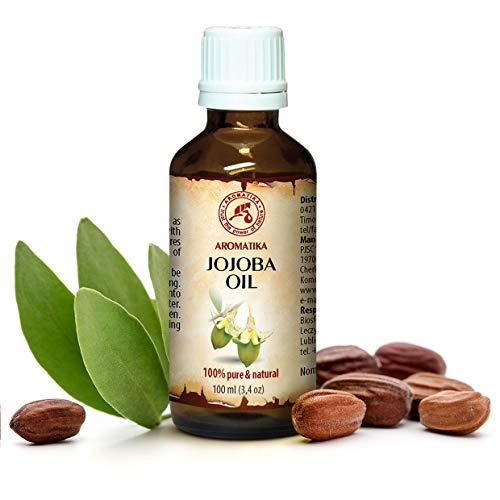 Huile de Jojoba 100ml - Simmondsia Chinensis Seed Oil - Argentine - 100% Pur et Naturel - Soins Intensifs pour le Visage - Corps - Cheveux - Bouteille en Verre - Huile Jojoba
