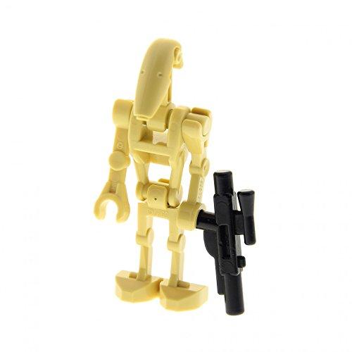 1 x Lego System Figur Droide beige Star Wars Battle Kampf Droid mit 1 Arm gerade mit Waffe Blaster 7662 30377 59230 30376 30378 30375 sw001c (Wars Figuren Star Droiden Lego)