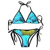 Rghkjlp Smiley Face Blue Sad and Yelow Happy Womens Triangle Top Bikini Swimsuit Sliding Swimwear