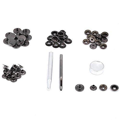 Akozon 15 Sätze 15mm Metalldruckknopf Druckknopfverschluss Mit Werkzeuge für für Leder Handwerk Kleidung Jacke Taschen Reparatur(Schwarz) (Schwarz Taschen Handwerk)