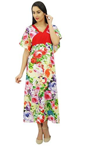 Bimba femmes floral rayonne caftan maxi vêtements de nuit robe caftan coverup Multicolore