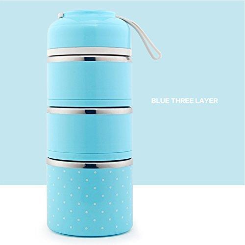 Isolierung THERMO-Lunchbox Edelstahl Lebensmittel Container tragbar Bento Box mit Griff 3Schichten blau