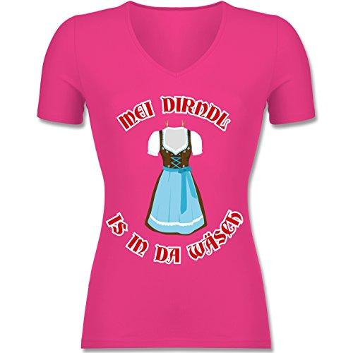 Oktoberfest Damen - MEI Dirndl is in Da Wäsch - Tailliertes T-Shirt mit V-Ausschnitt für Frauen Fuchsia