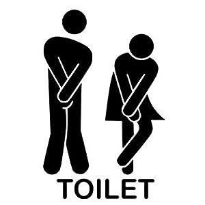 wandaufkleber wandtattoos Ronamick Entfernbarer Netter Mann Frau Waschraum Toilette WC Aufkleber Familie DIY Dekor Wandtattoo Wandaufkleber Sticker Wanddeko (Schwarz, 13 * 18cm)
