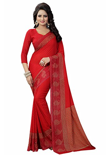 Ishin Women\'s Faux Georgette Saree With Blouse Piece (Swaya-Kerired_Red)
