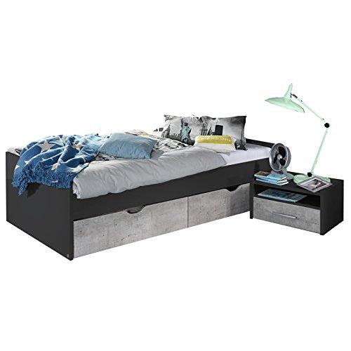 Bett MALISO 120 x 200 cm Grau-Metallic Breite 125 cm, Höhe 54 cm, Tiefe 206 cm, 2 Bettkästen (Bett Metallic-set)