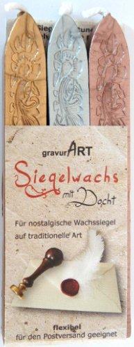 gravurART - flexibles Siegelwachs mit Docht, 3 Stangen in gold, silber und bronze