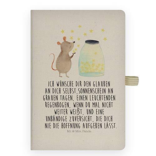 Mr. & Mrs. Panda Tagebuch, Schreibbuch, DIN A5 Baumwoll Notizbuch Maus Sterne mit Spruch - Farbe Transparent -