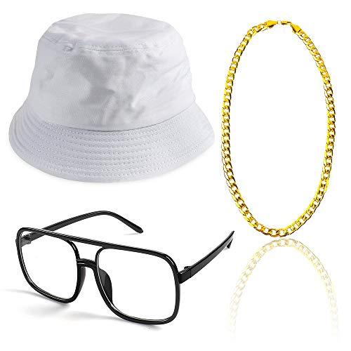 / 90er Jahre Hip Hop Kostüm Kit Old Style Coole Rapper Outfits - Bucket Hat übergroße Schwarze Sonnenbrille Gold Plated Chain (F) ()