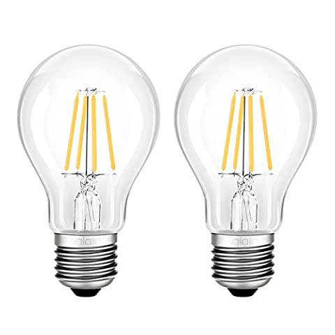 Aglaia E27 LED Bulbs, 4W A60 Filament Light Incandescent Equivalent 40W, 2700K Warm White, 400LM and 360° Beam Angle, Pack of 2 Units