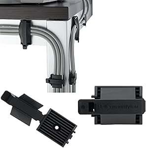 Hellermann Tyton Kabel-Clips 31 mm FKH25A 25 Stück Kabelhalter Kabelklemme Selbstklebend oder zum Schrauben an Wand und Schreibtisch