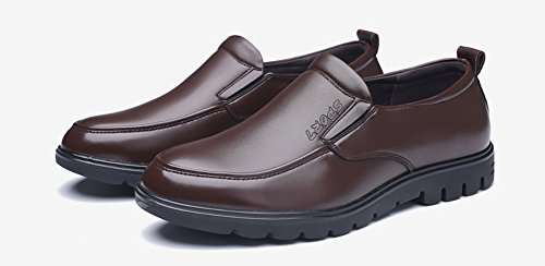 Anlarach Hommes Cuir Slip On Casual Wider Fitting Chaussures Habillées de Travail Loafer Flats Marron