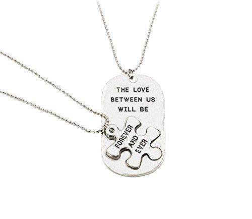 Fengteng El Amor Entre Nosotros Será Siempre Jamás Parejas Empalme Puzzle 2 Piezas Collar 20.5