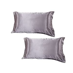 "DEHMAN Satin 600 TC Pillowcase (Grey_12""X19"")"