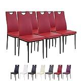 Albatros 2918 Salerno Esszimmerstühle, 6-er Set, rot