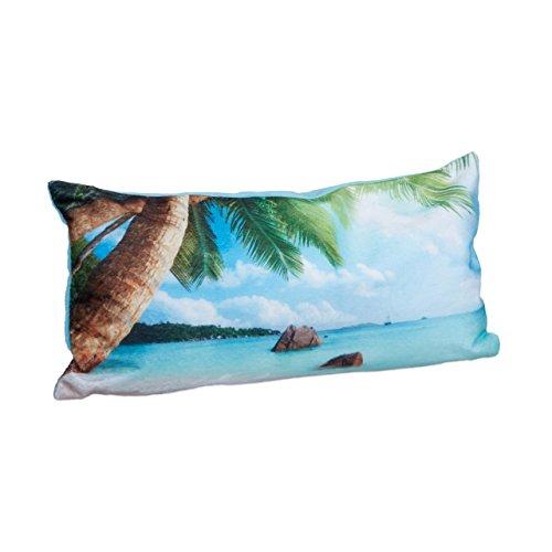 Relaxdays Badewannenkissen Strand HBT ca. 10 x 37 x 17 cm extra weiches Nackenkissen für die Badewanne mit 2 Saugnäpfen als Wannenkissen oder Reisekissen mit Reißverschluss und waschbarem Bezug, blau