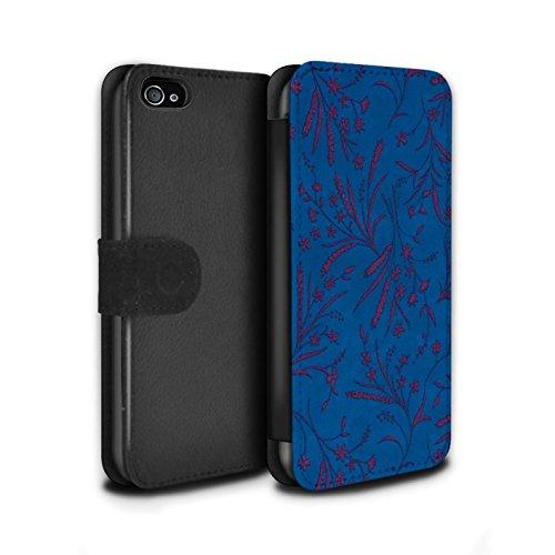 Stuff4 Coque/Etui/Housse Cuir PU Case/Cover pour Apple iPhone 4/4S / Rouge/Vert Design / Motif floral blé Collection Bleu/Rose