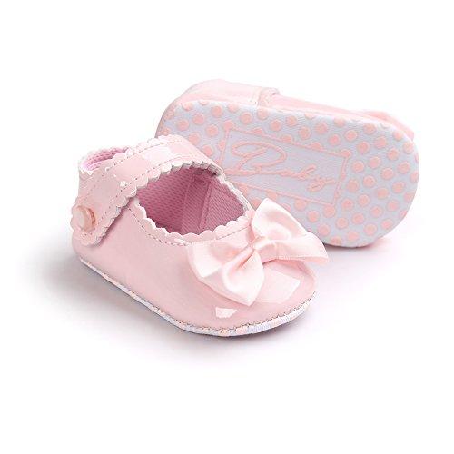 Chaussures en cuir doux et antidérapantes avec Bowknot pour 0-18 mois Printemps été Automne Usage (Champagne, L) Rose