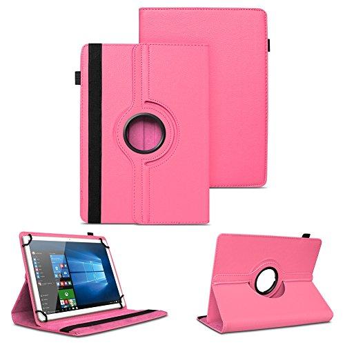 NAUC XORO PAD 9W4 PRO Universal Tablet Schutzhülle hochwertiges Kunst-Leder Hülle Tasche Standfunktion 360° Drehbar Cover Case, Farben:Pink