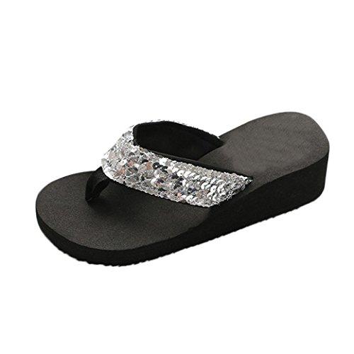 Damen Sommer Pailletten Anti-Rutsch Sandalen Pantoletten Plattform Outdoor Flip-Flops Zehentrenner (38 EU, Silber) (Pailletten-blumen-sandalen)