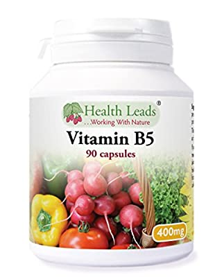 Vitamin B5 (Pantothenic Acid) 400mg x 90 capsules (Magnesium Stearate Free) by Health Leads UK