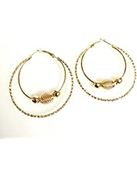Gold Metal Double Ring With Beads Loop Bali Earring Total Fashion